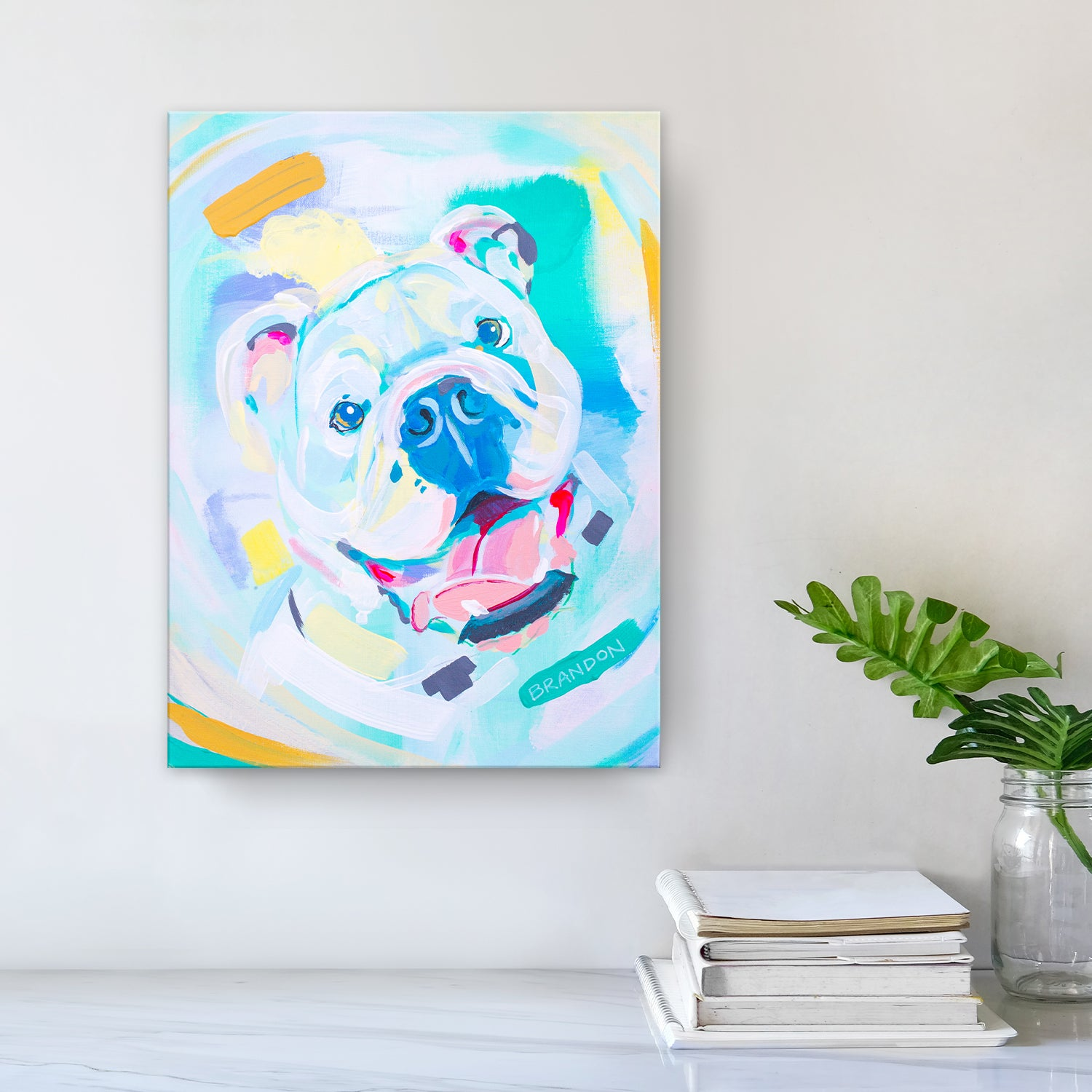 Ready2hangart Colorburst Bulldog Colorful Wrapped Canvas Pet Art By Brandon Thomas