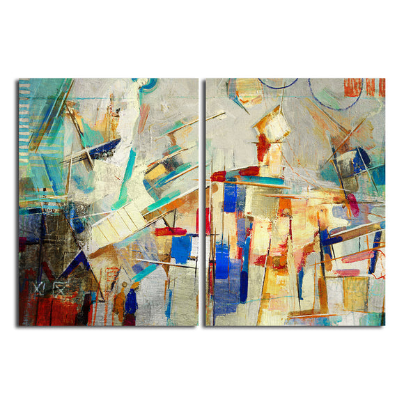 Ready2HangArt 'Bueno Exchange XXV' 30x40-inch Canvas Diptych Art Print