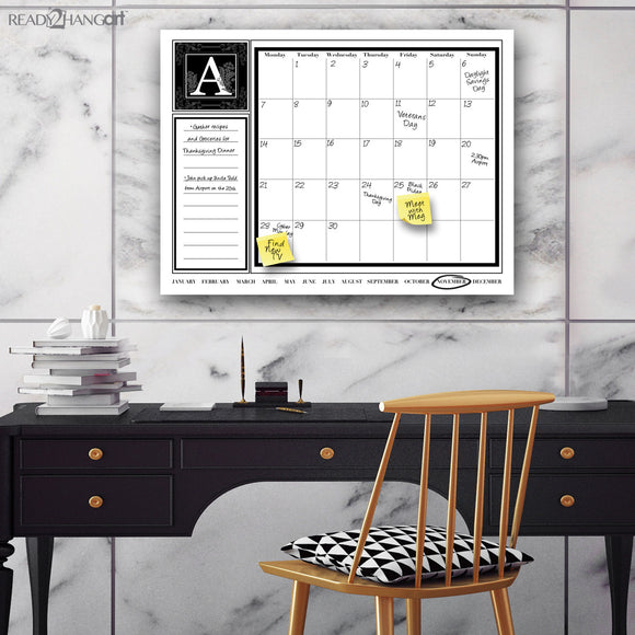 R2H Methods Monogram Dry Erase Monthly Calendar on ArtPlexi (30