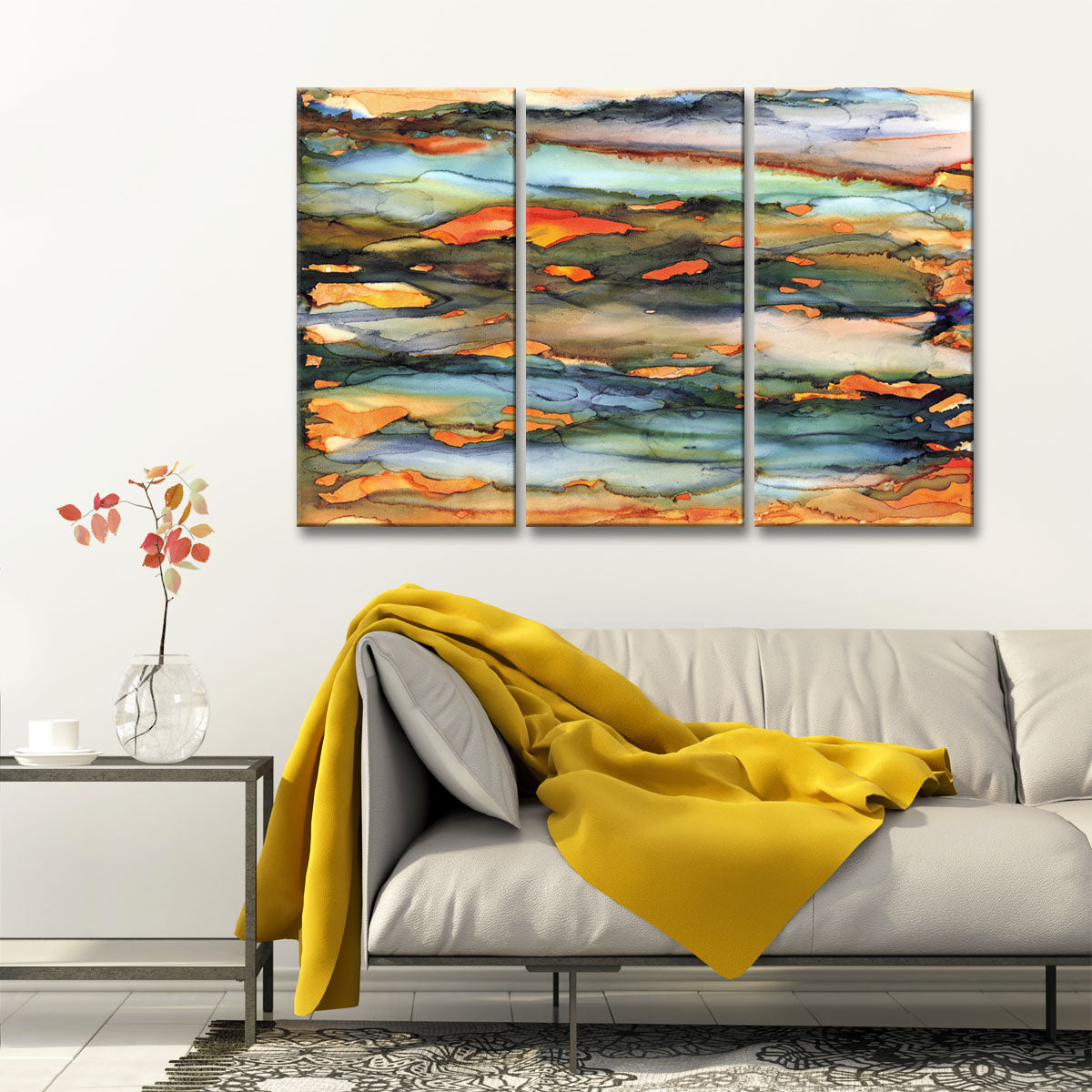 Methane 3 Pc Wrapped Canvas Abstract Wall Art Set
