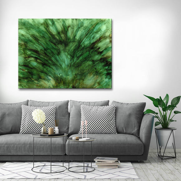 'Mossy Fields' Wrapped Canvas Abstract Wall Art