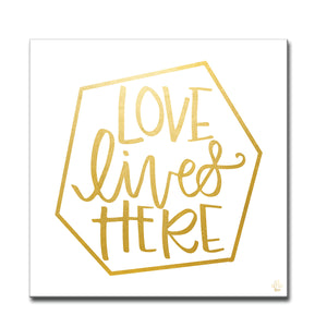 'Love Lives Here' Wrapped Canvas Wall Art