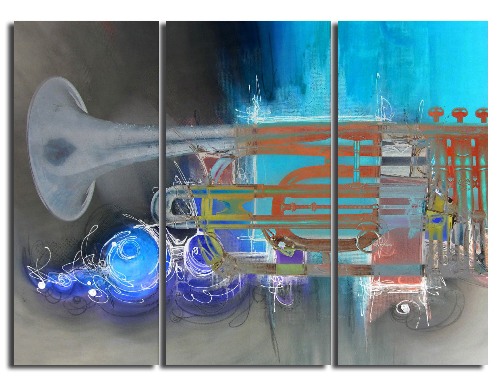 Ready2HangArt 'The Color of Jazz XII' Oversized 3-PC Canvas Wall Art
