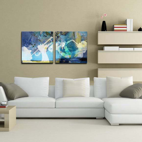 'Trumpet and Sax' Canvas Wall Art (2 Piece)