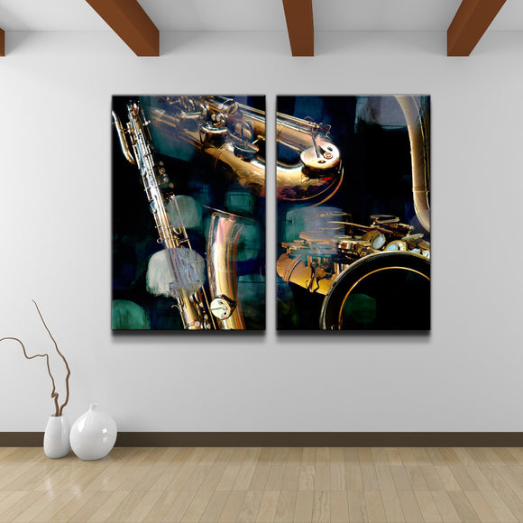 'The Color of Jazz VI' Oversized 2-PC Canvas Wall Art