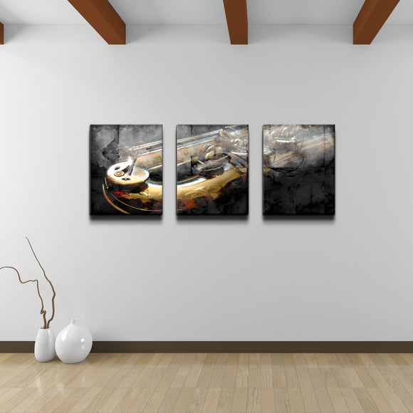 'The Color of Jazz IX' Oversized 3-PC Canvas Wall Art