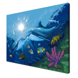 Ready2hangart David Dunleavy 'Kissing Dolphins' Canvas Wall Art
