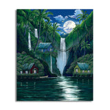 David Dunleavy 'Moon Over the Falls' Canvas Wall Art