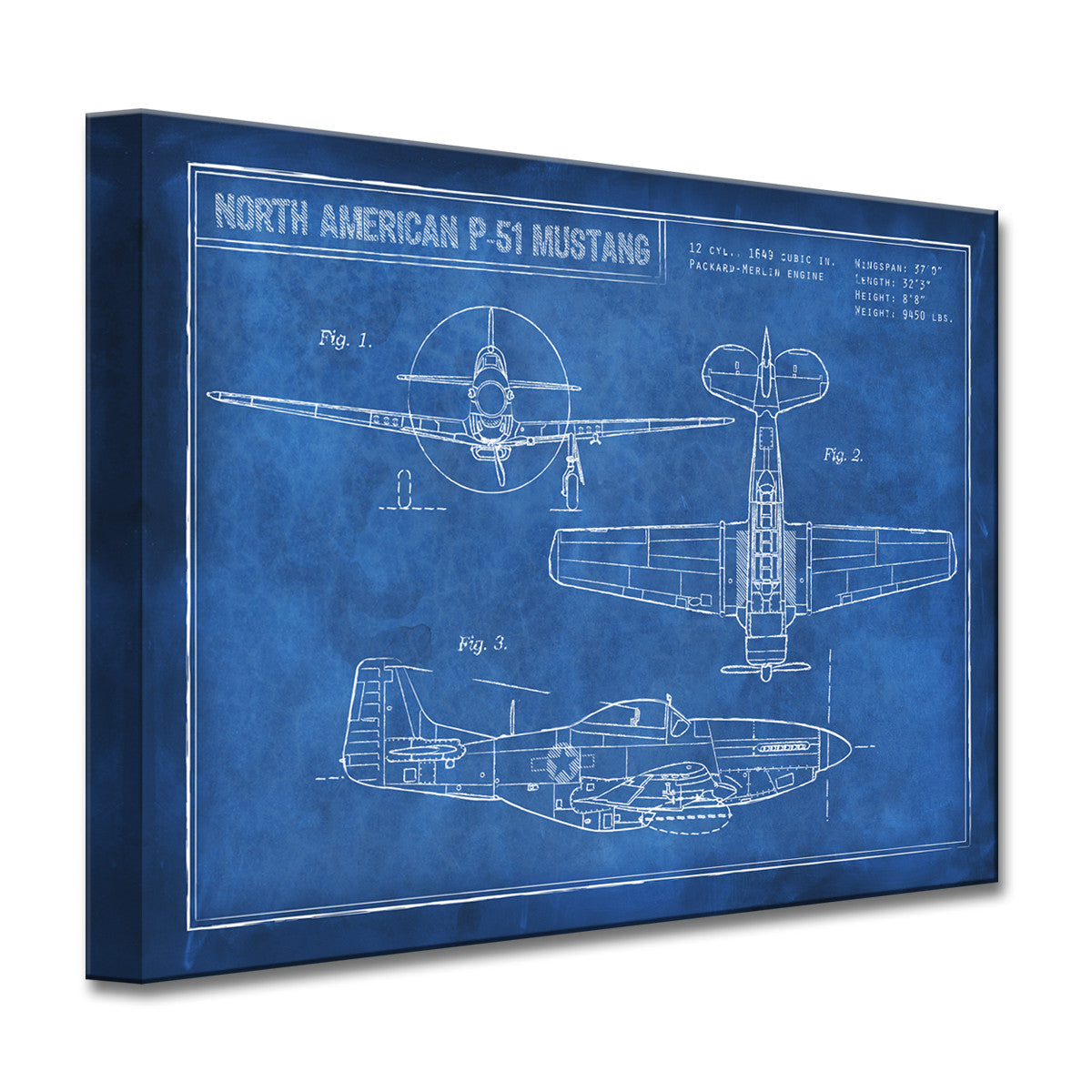 Ready2hangart canvas art american p 51 blueprint by dorothea taylor malvernweather Image collections