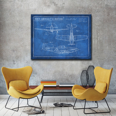 Ready2HangArt Canvas Art 'American P-51 Blueprint' by Dorothea Taylor
