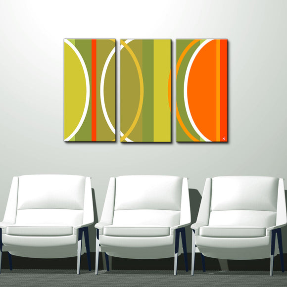 'Geometric Study II-B'  24x36-inch Canvas Wall Art (3-Pc Set)