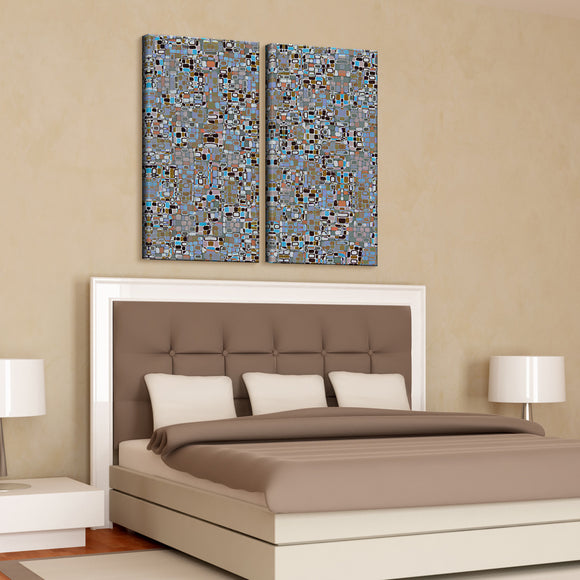 'Geometric Study II-B' 40x40-inch Canvas Wall Art (2-Pc Set)