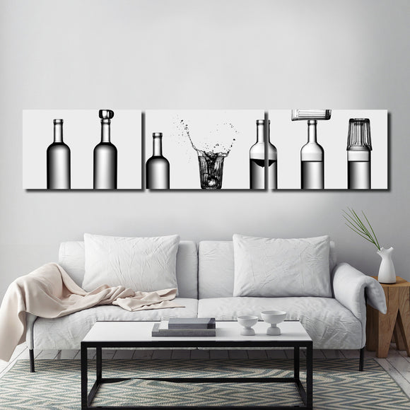 Ready2HangArt Indoor/Outdoor 3 Piece Wall Décor Set 'Bottles Game' in ArtPlexi