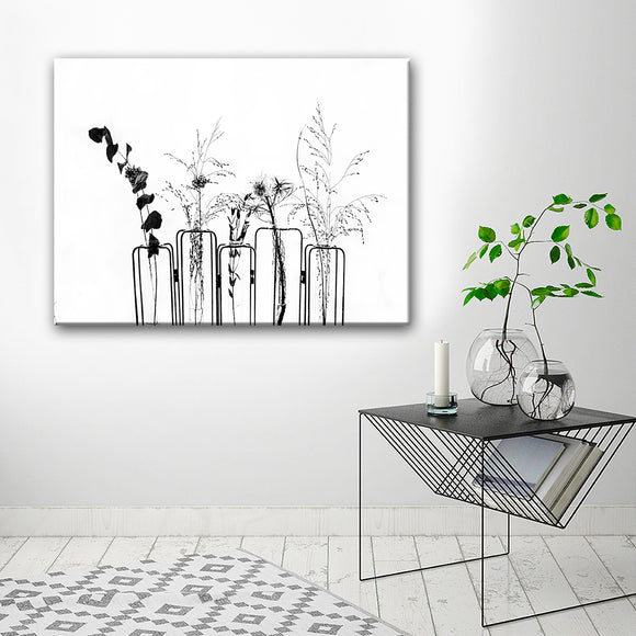 Ready2HangArt 'Black Flowers on White Background' Canvas Wall Décor
