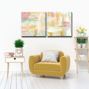 'Honey Peach Floral' 2-Pc Wrapped Canvas Abstract Wall Art Set