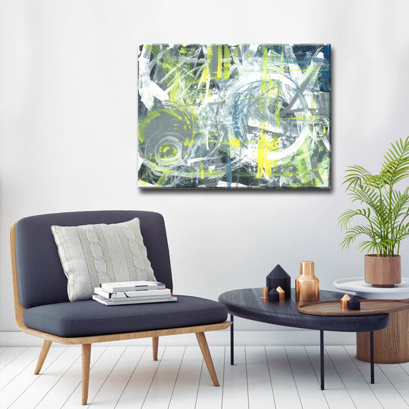 'Charcoal and Lightning' Wrapped Canvas Abstract Wall Art