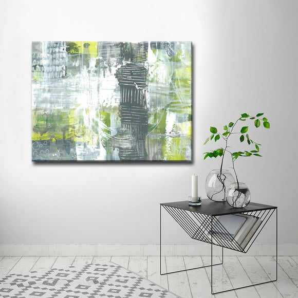 'Grey and Yellow Dashes' Wrapped Canvas Abstract Wall Art