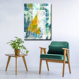 'Golden Triad Teal Blues' Wrapped Canvas Abstract Wall Art