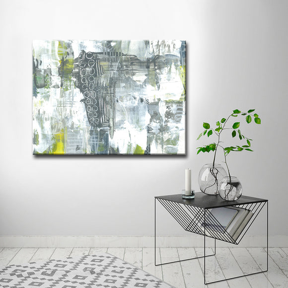 'Grey and Yellow Orbs' Wrapped Canvas Abstract Wall Art