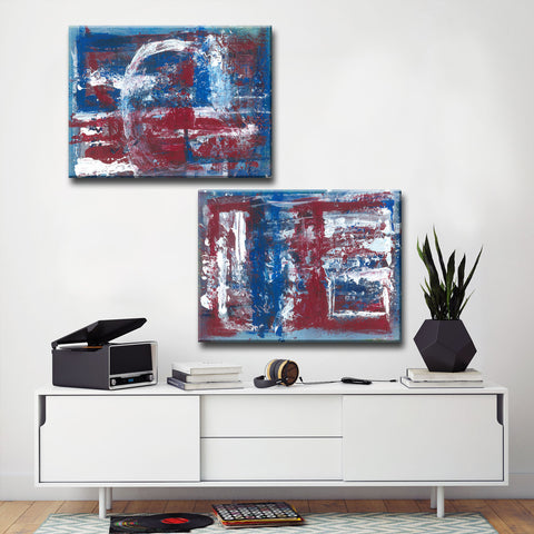 Max+E 'Americana Blues I/II' 2 Piece Canvas Art Set