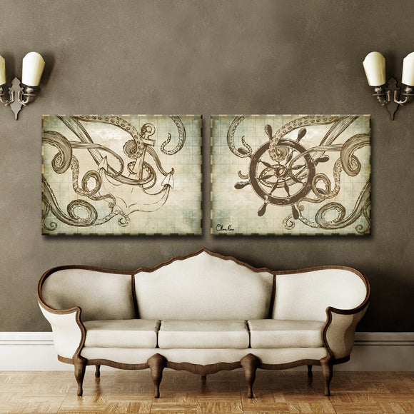 Ready2HangArt 'Sea Anchor & Ship' by Olivia Rose 2-PC Canvas Art Set