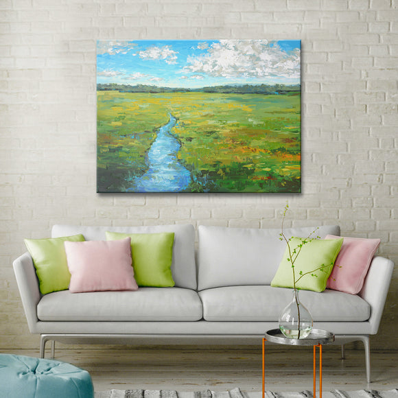 'Field Day' Wrapped Canvas Coastal Wall Art