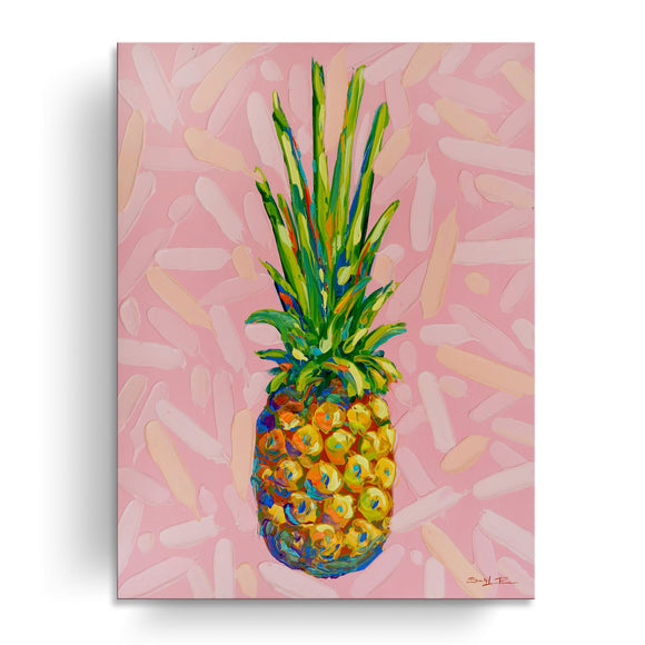 'Candy Pineapple' Wrapped Canvas Coastal Wall Art