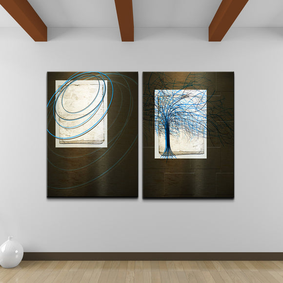 'Abstract Spa XXVIII' 2 Piece Wrapped Canvas Wall Art Set