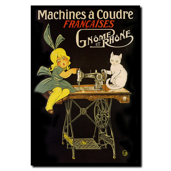 Vintage Machines a Coudre Wrapped Canvas Art