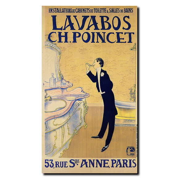 Vintage Lavabos ch. Ponchet Wrapped Canvas Art