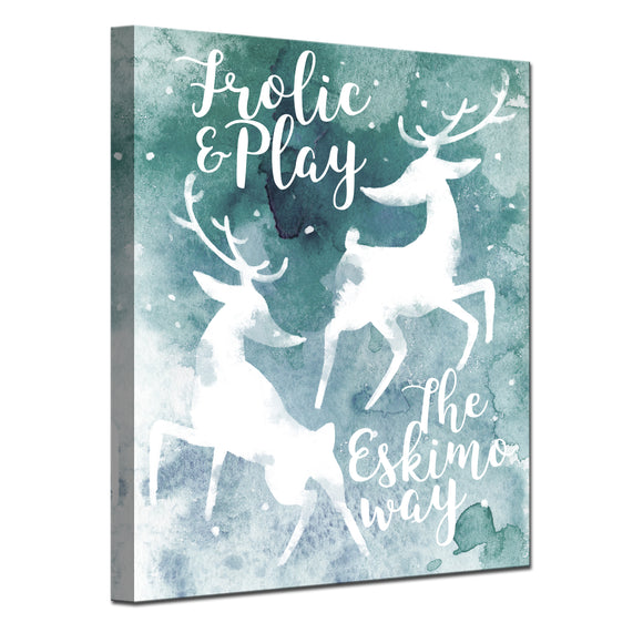'Frolic' Wrapped Canvas Christmas Wall Art