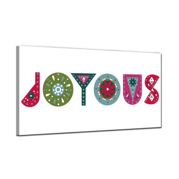 'Joyous' Wrapped Canvas Christmas Wall Art