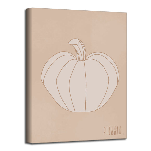 'Minimal Pumpkin II' Fall Wrapped Canvas Wall Art
