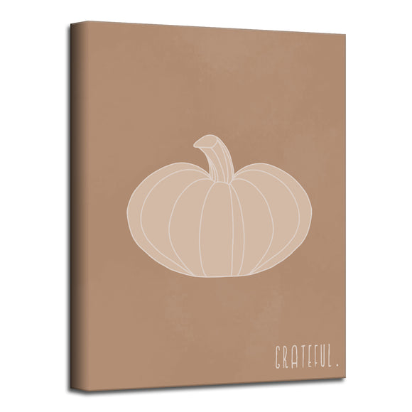 'Minimal Pumpkin III' Fall Wrapped Canvas Wall Art