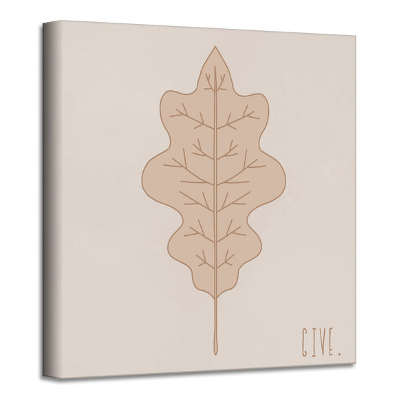 'Minimal Leaf III' Fall Wrapped Canvas Wall Art