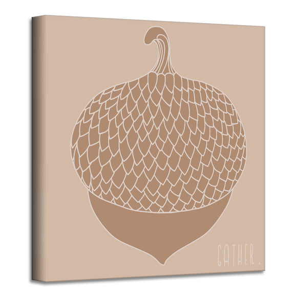 'Minimal Acorn' Fall Wrapped Canvas Wall Art