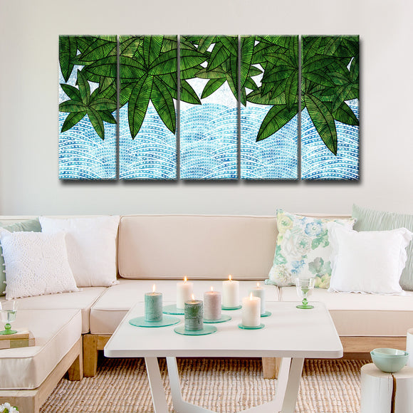Ready2HangArt™ 'Leaves by the Shore' 5-PC  Wrapped Canvas Art Set