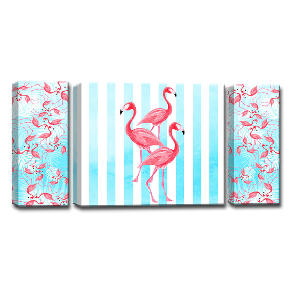 Ready2HangArt™ 'Flamingo's align' 3-PC  Wrapped Canvas Art Set