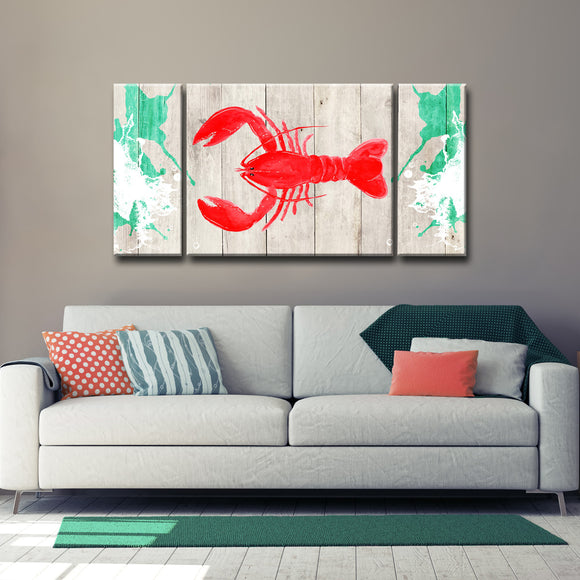 Ready2HangArt™ 'Lobster Red' 3-PC  Wrapped Canvas Art Set