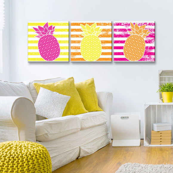 Ready2HangArt™ 'Starburst Pineapple III-B' 3-PC  Wrapped Canvas Art Set