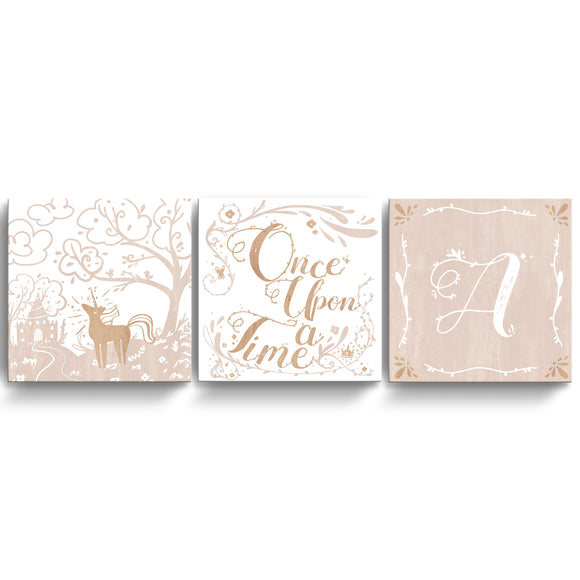 'Once Upon a Time' 3-Pc Wrapped Canvas Monogram Nursery Wall Art Set