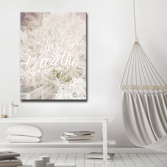 'Just Breathe' Inspirational Canvas Art by Olivia Rose