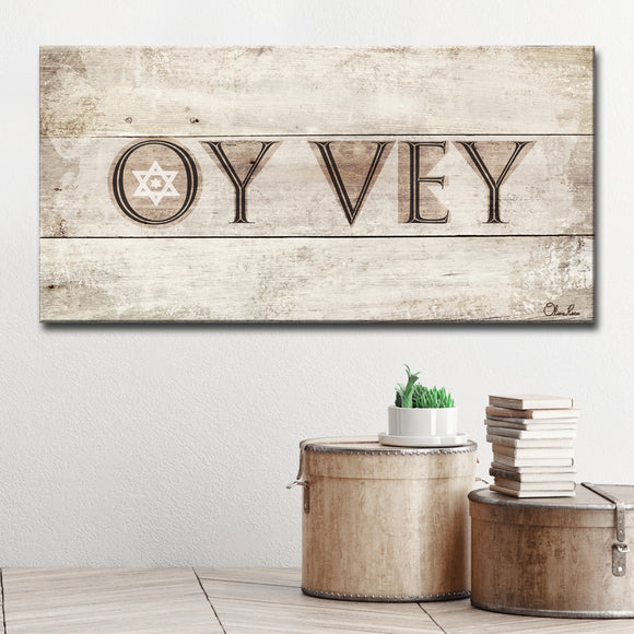 Ready2HangArt Inspirational 'Oy Vey' Wrapped Canvas Wall Art