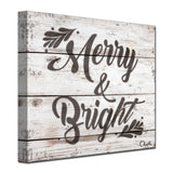 Ready2HangArt 'Christmas Merry & Bright' Wrapped Canvas Textual Wall Art