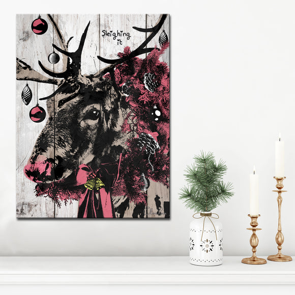 Ready2HangArt 'Christmas Reindeer' Wrapped Canvas Textual Wall Art