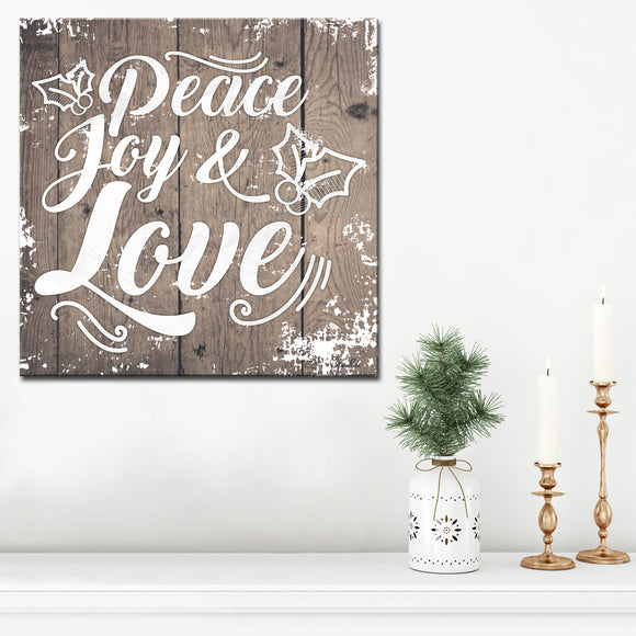 Ready2HangArt 'Christmas Peace Joy Love' Wrapped Canvas Textual Wall Art