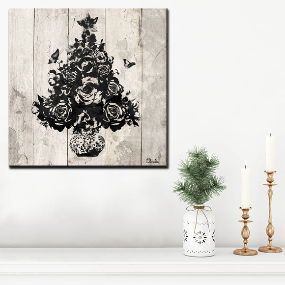 Ready2HangArt 'Floral Christmas Tree' Wrapped Canvas Holiday Wall Art