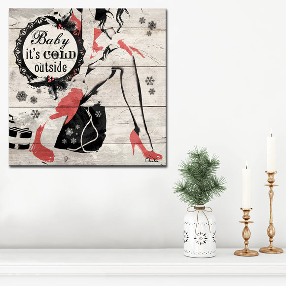 Ready2HangArt 'Christmas Cold Out' Wrapped Canvas Textual Wall Art
