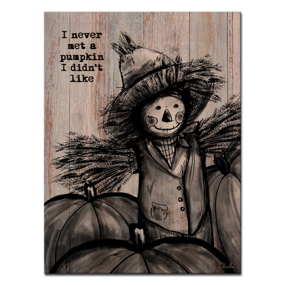 Ready2HangArt 'Pumpkin Patch Scarecrow' Wrapped Canvas Textual Fall Wall Art