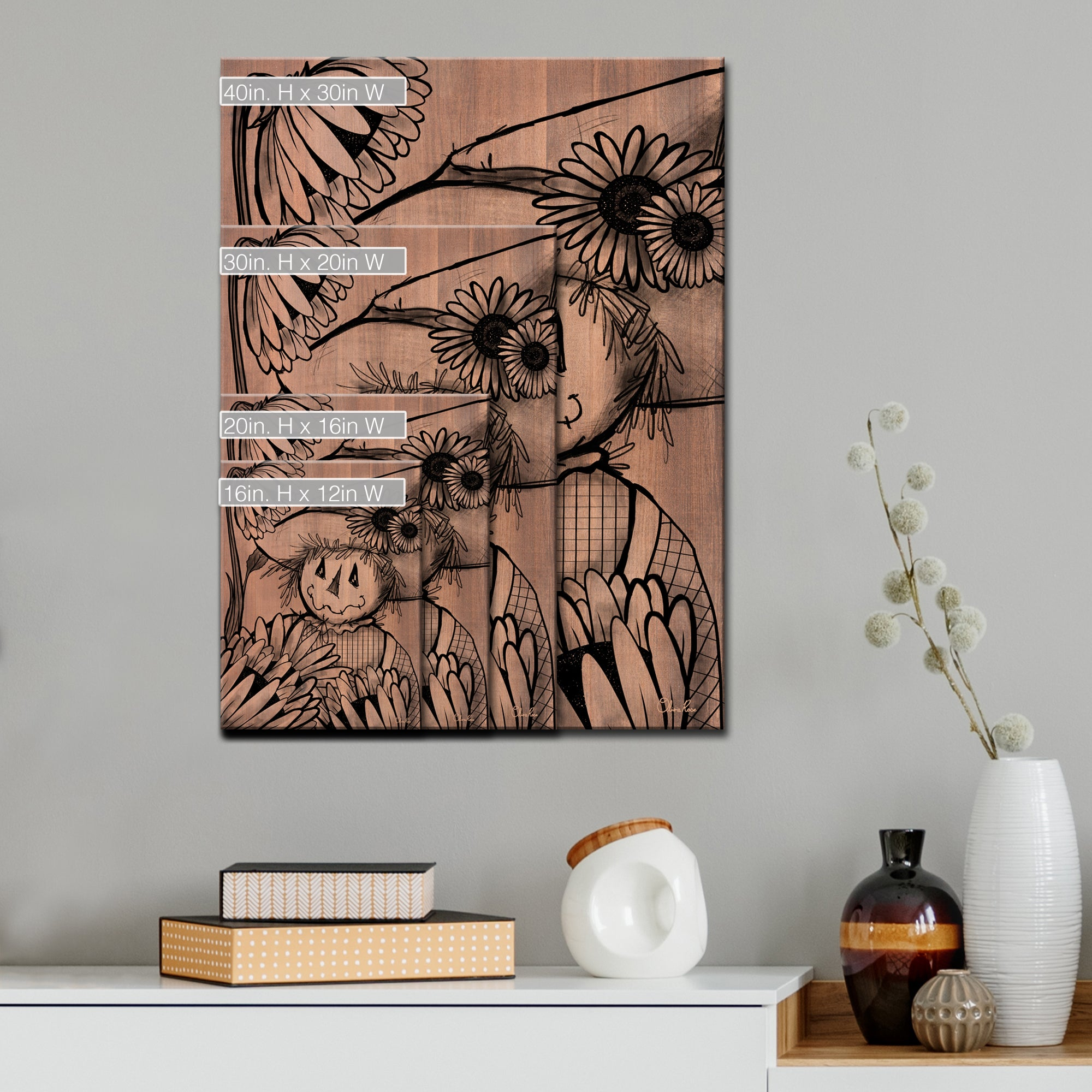 Ready2HangArt Sunflower Scarecrow Wrapped Canvas Fall Wall Art
